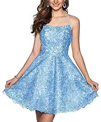 Jonlyc A-Line Spaghetti Straps Lace Applique Backless Short Homecoming Dresses Blue 17W