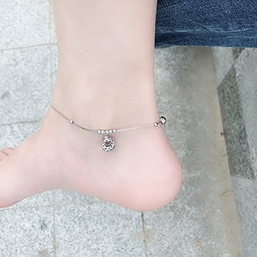 TKHNE Shopping Hong Kong Shopping Zheng Sheng silver Foot Chain anklet bells pierced through curd simple wild personality influx women s925 sterling silver