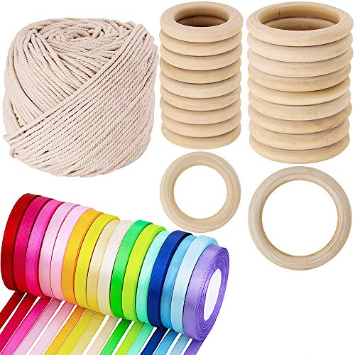 """Supla 2 Size 20 PCS Unfinished Solid Wooden Rings Wooden Teething Ring Natural Wood Teething Rings,16 colors 400 yard satin ribbon rolls in 2/5"""" wide and Macrame Cotton Cord,1/8"""" Wide,109 -"""