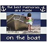 "We Baby Pavilion Gift Company The Best Memories Are Made on The Boat Picture Frame, Dark Blue, 6""x4"""