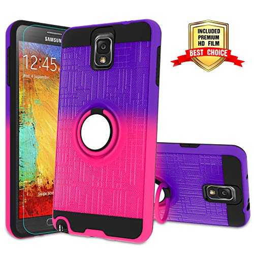 Galaxy Note 3 Case, Note 3 Phone Case with HD Screen Protector,Atump 360 Degree Rotating Ring Holder Kickstand Bracket Cover Phone Case for Samsung Galaxy Note III,N9000,N9005,Note 3 Purple/Red