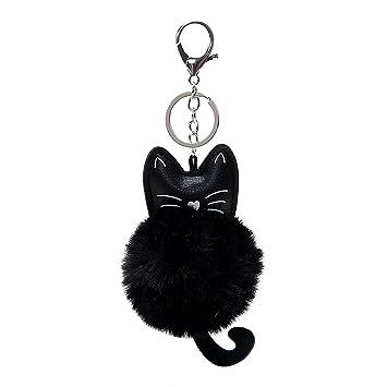 e7f80dfb15be8 Holdream KFZ Schlüssel Kette Schlüssel Ring PU Leder Plüsch Katze Anhänger  Auto Schlüsselanhänger Handtasche Dekoration (