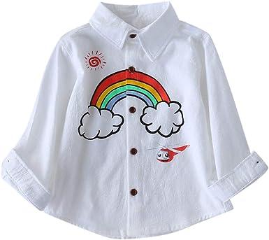 K-youth Niñas Camisetas para 18 Meses a 6 Años Chic Arcoiris Impresión Niños Bebé Blusas Niña Manga Larga Tops Camisas Bebe Niña Sudaderas: Amazon.es: Ropa y accesorios