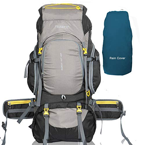 TRAWOC 75 Liter Travel Backpack for Outdoor Sport Camping Hiking Trekking Bag Rucksack, Grey