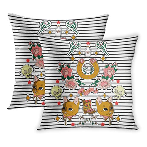 1980s Western Shirt - Emvency Throw Pillow Covers of 2 Sets, Western of Pins Patches and Handwritten Notes Collection in Cartoon Cat Skull Milk Rose Horseshoe Tshirts Decor Zippered Square Size 20 x 20 Inches Pillowcase