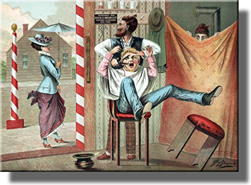 Barber Shop Humorous Picture on Stretched Canvas, Wall Art D