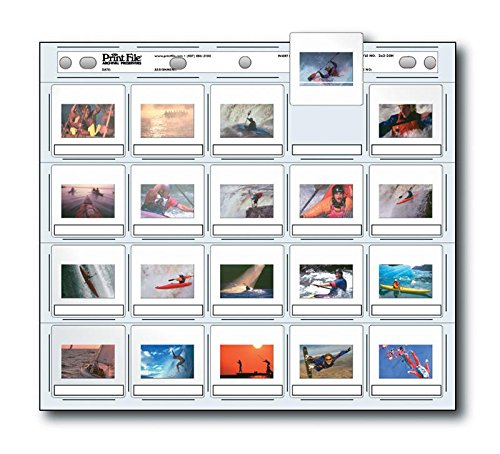 Print File 35mm Slide Pages Holds Twenty 2x2'' Mounted Transparencies, Top Loading, Pack of 100 by Print