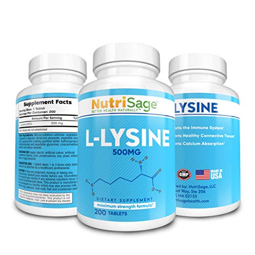 Premium Super L Lysine - 500mg Amino Acid Tablets For Cold Sore Care, Shingles, Immune Support & More - 200 Count Per Bottle (L Lysine 500 Mg For Cold Sores)