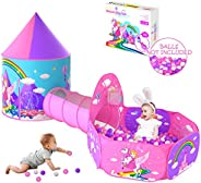 wilwolfer Gift for Girls Playhouse with Drawing Book, Unicorn Princess Castle Play Tent for Kids Girls & P