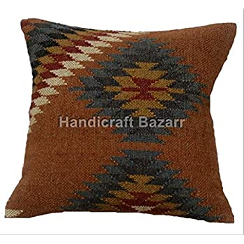 Amazon.com: Hecho a mano en India, Kilim Funda de almohada ...