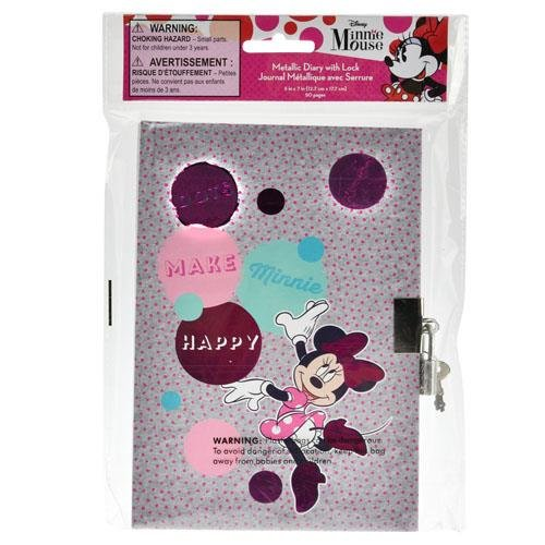 Disney Minnie Mouse Diary w/Lock in Poly Bag & Header Toy