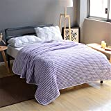 Air Conditioning Quilt Knitted Cotton Double Stripes Summer Cool Quilt Suitable For Home (Color : Purple, Size : 200230cm)