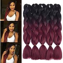 "Dingxiu (5Packs,24"") 2 Tone Jumbo Braid Ombre Braiding Hair X-pression Hair Extensions Afro Box Braids Crochet Hair Synthetic Fiber Hair 100g/pack(24 Inch, Black-Wine Red)"
