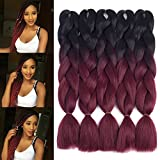 Dingxiu (5Packs,24') 2 Tone Jumbo Braid Ombre Braiding Hair X-pression Hair Extensions Afro Box Braids Crochet Hair Synthetic Fiber Hair 100g/pack(24 Inch, Black-Wine Red)