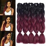 Dingxiu (5Packs,24'') 2 Tone Jumbo Braid Ombre Braiding Hair X-pression Hair Extensions Afro Box Braids Crochet Hair Synthetic Fiber Hair 100g/pack(24 Inch, Black-Wine Red)