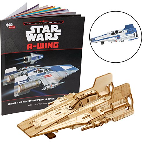 """Star Wars: The Last Jedi A-Wing Book and 3D Wood Model Figure Kit - Build, Paint and Collect Your Own Wooden Movie Toy Model - Great for Kids and Adults, 12+ - 3"""" x 5"""""""