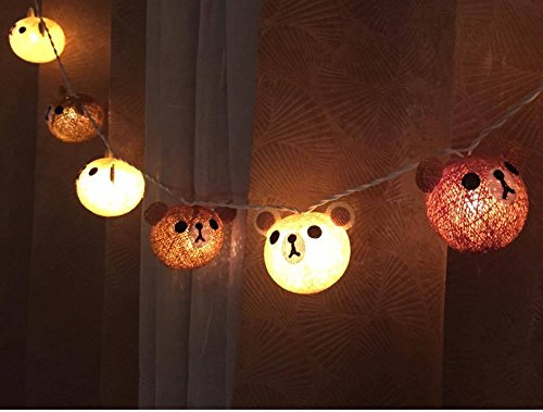 Teddy bear cotton ball string lights for Christmas fairy lights, Christmas Lights, Christmas tree decor, Party by Thai Decorated