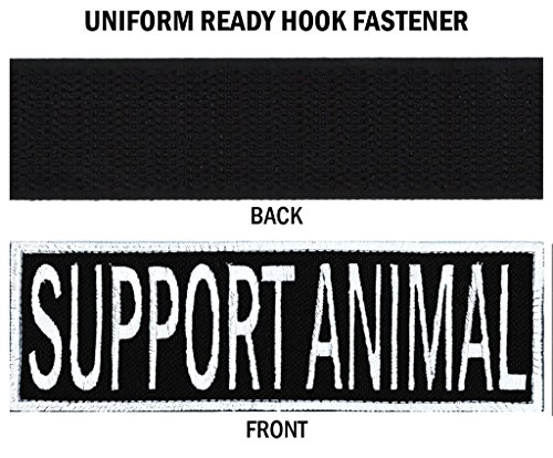 SUPPORT ANIMAL Embroidered Patch with Border! OVER 50 Fabrics to choose! SAME DAY SHIP! MADE IN THE USA! Sew On or Hook Fastener. Black Fabric 4.5