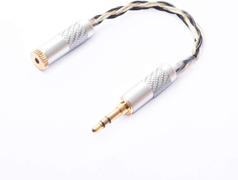OKCSC Gold Plated 3.5mm Male to 2.5mm Female Stereo Audio Jack Adapter Cable for Headphone 8N Cable Color2 Black-Gold