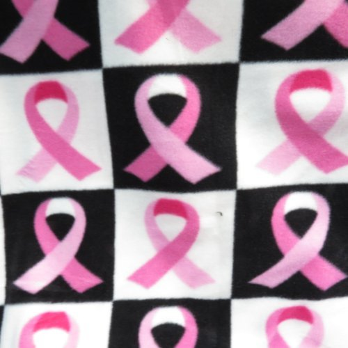 Pink Ribbon on Black and White Checkered Licensed Fleece 58 Inch Wide Fabric By the Yard from The Fabric Exchange