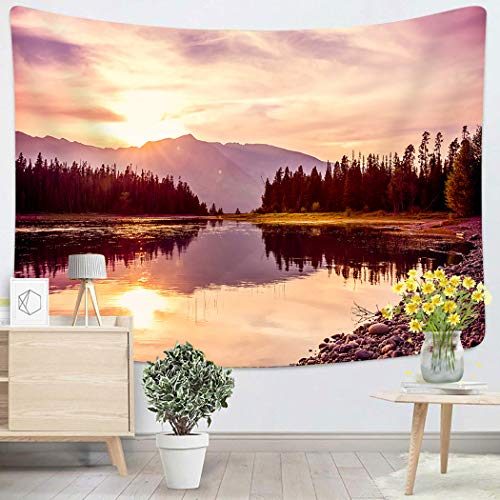 Lichtion Tapestry Grand Teton Mountain Range Sunset Jackson Lake Grand Teton National Park Wall Hanging Polyester Living Room Beach Towel Picnic Mat Bedding Decoration 60 X 80 Inches