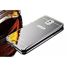 Vandot Samsung Galaxy Note 3 N9000 N9005 Mirror Case,Luxury Elegant Ultra Thin Slim Fit Metal Aluminum Frame Bumper Reflective Effect Hard Back Cover Pattern [Non-slip] [Shockproof] Protective Skin Shell-Silver