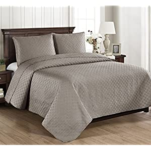 Brielle Home Basket Weave Quilt Set, Twin, Grey