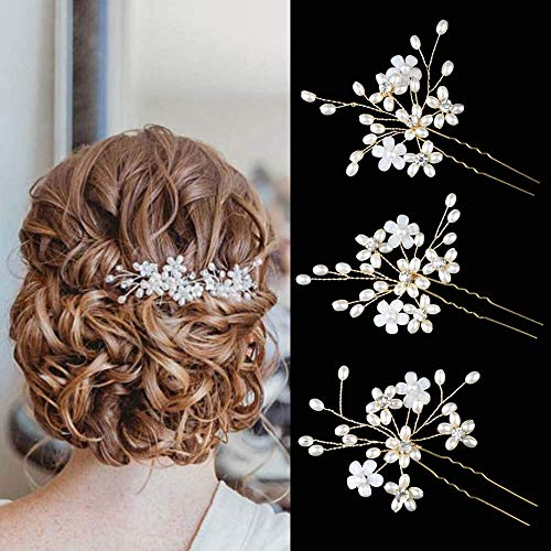 Sppry Wedding Hair Pins (3 Pcs) - Elegant Pearl Floral Crystal Hair Accessories for Bridal Women (Gold)