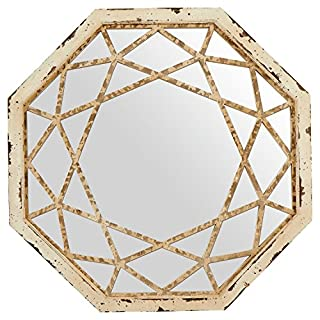 Stone & Beam Vintage-Look Octagonal Hanging Wall Mirror Decor, 25.5 Inch Height, Antique White (B073WGQBPZ)   Amazon Products