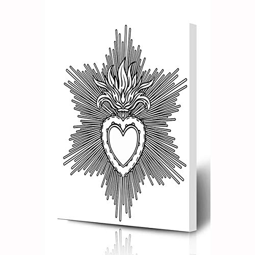 Ahawoso Canvas Prints Wall Art 12x16 Inches Happy Catholic Sacred Heart Jesus Rays Love Tattoo Fire Flame Alchemy Gothic Design Burning Wooden Frame Printing Home Living Room Office Bedroom