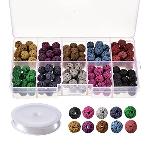(TecUnite 180 Pieces Volcanic Gemstone Beads Round Rock Lava Stone Beads with 1 Roll Crystal String for Bracelet Necklace Jewelry Making, 8 mm, 10 Colors)