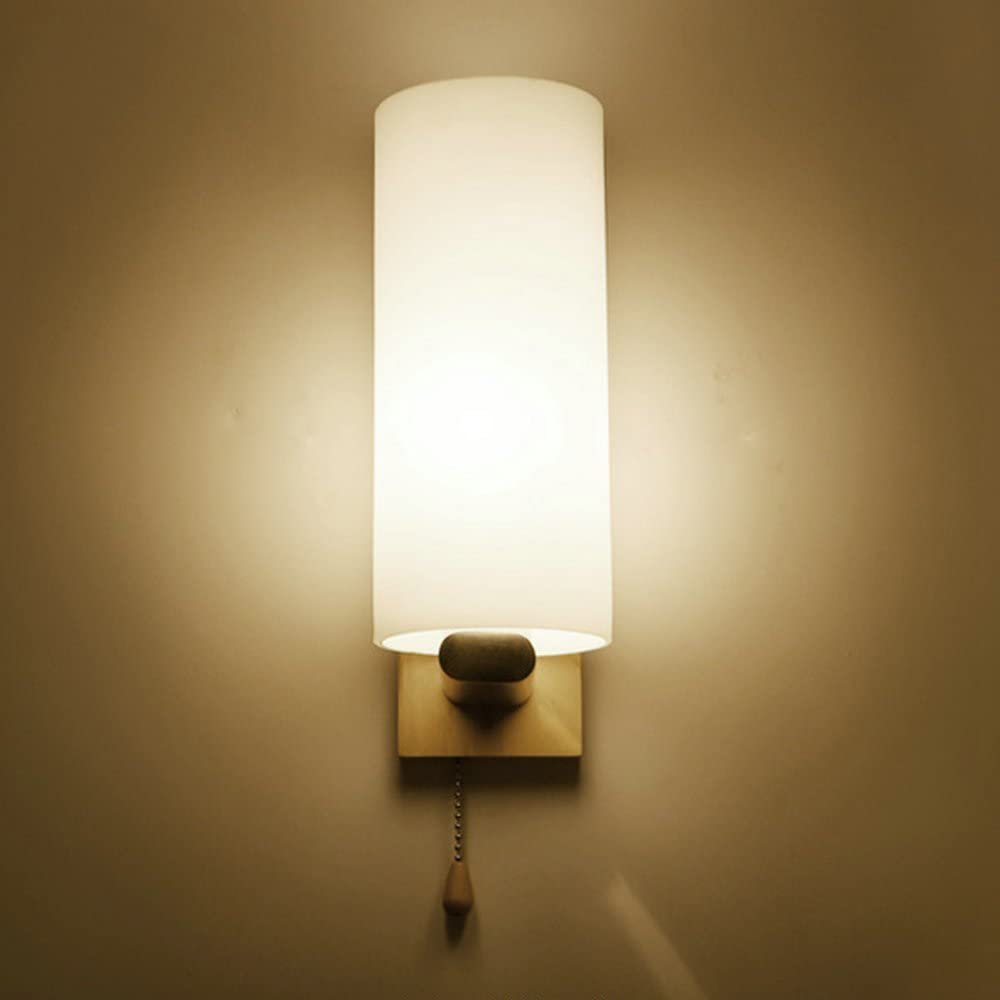 HEYUN& Wooden Glass LED Wall Lights with Pull Cord Switch Up and