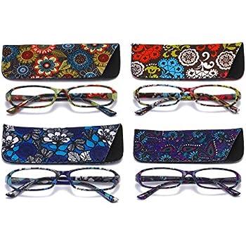 8452132697e5 SOOLALA 4-Pair Designer Fashionable Spring Hinge Rectangular Reading Glasses  w/Matching Pouch, 4pcs, 2.0