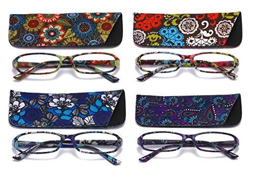 SOOLALA 4-Pair Designer Fashionable Spring Hinge Rectangular Reading Glasses w/Matching Pouch, 4pcs, 4.0