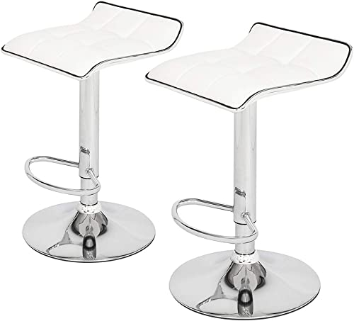 Tenozek Modern PU Leather Adjustable Bar Stools, Counter Height Swivel Stool, Square Board Curved Foot Bar Stools Cotton and Linen Fabric Set of 2 White