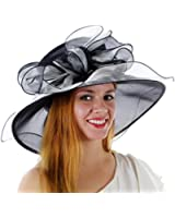 Sweet Tea Organza Derby Hat with with Ruffled Bow