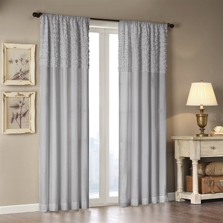 picture of Madison Park Bessie Cotton Horizontal Ruffle Curtain Grey 84 Panel