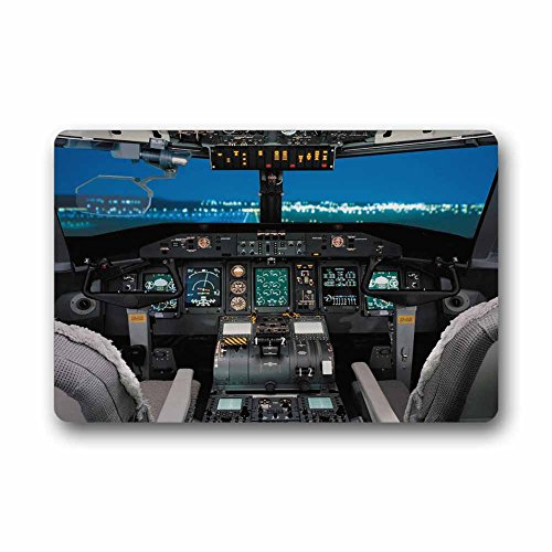 Custom Cool Airplane Cockpit Machine Washable Top Fabric Non-slip Rubber Indoor Outdoor Home Office Bathroom Doormat Size - Custom Cockpit