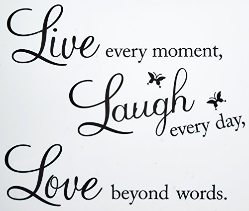 Vinyl Decal Live Every Moment, Laugh Every Day, Love Beyond Words Wall Quote -