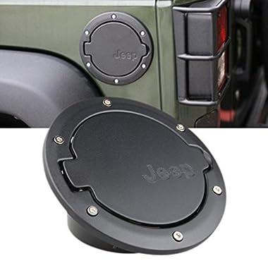 ROCCS Black Fuel Filler Door Cover Gas Tank Cap 4-Door 2-Door for 2007-2016 Jeep Wrangler JK & Unlimited