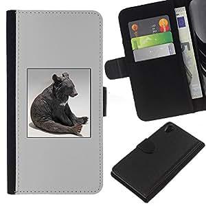 ZCell / Sony Xperia Z2 D6502 / Bear Sitting Statue Modern Art Animal Forest / Caso Shell Armor Funda Case Cover Wallet / Oso Sentado Estatua Mode