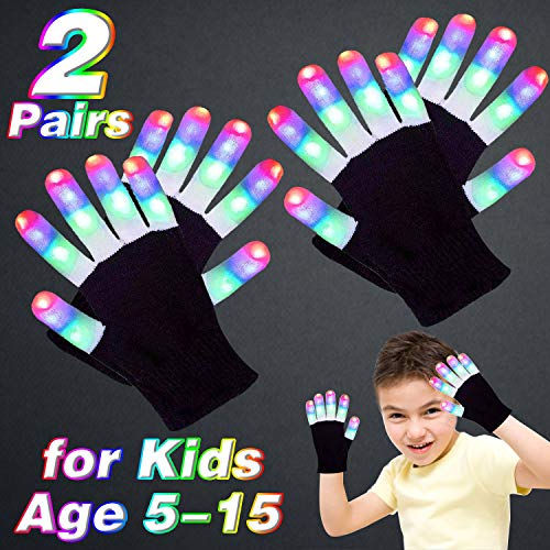 2 Pairs LED Gloves Finger Lights for Kids Glowing Gloves 3 Colors 6 Modes Flashing Rave Gloves Halloween Costume Glow in The Dark Party Favors Light Up Novelty Toys for Age 5-15 Kids Boys Girls