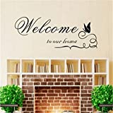 Linkingss Wall Stickers Removable Welcome to Our Home Quotes Sticker Decal Wall Art