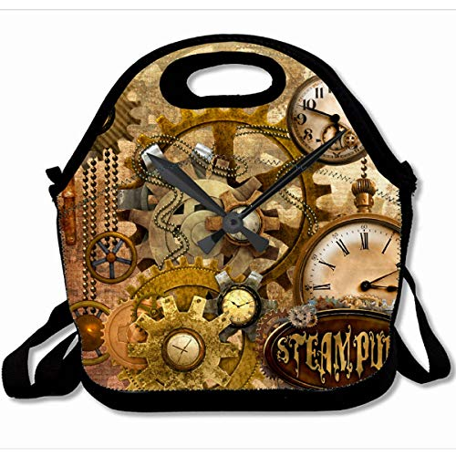 Ahawoso Reusable Insulated Lunch Tote Bag My Honey Steampunk 10X11 Zippered Neoprene School Picnic Gourmet Lunchbox ()