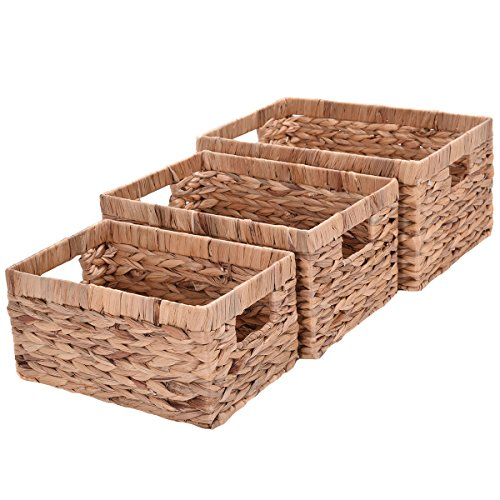 Giantex Set of 3 Hand Knitting Rectangle Storage Baskets Steel Frame Organizer (Set of 3 Without Handel)