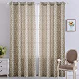 Cheap NANAN Moroccan Poly Linen Curtains,Lattice Flax Linen Textured Grommet Curtains Geometric Window Treatment Drapes Bedroom – 52″ W x 95″ L – (Taupe, Set of 2 Panels)