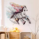 YUMULINN wallpaper stickers Wallpapers murals Self adhesive wallpaper wall stickers room den living room sofa background wall decorations creative fire horse animal stickers, 90X60CM