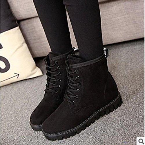 botines HSXZ Otoño PU Negro Rojo redondeado Zapatos Confort Invierno Amarillo de Gray Botas Plano informales Toe Mujer gris Botines q7w4t7r
