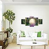 prestigeart-Bilder-Wald-Hirsch-Wandbild-Vlies-Leinwand-Bild-XXL-Format-Wandbilder-Wohnzimmer-Wohnung-Deko-Kunstdrucke-Grn-5-Teilig-100-MADE-IN-GERMANY-Fertig-zum-Aufhngen-608852a