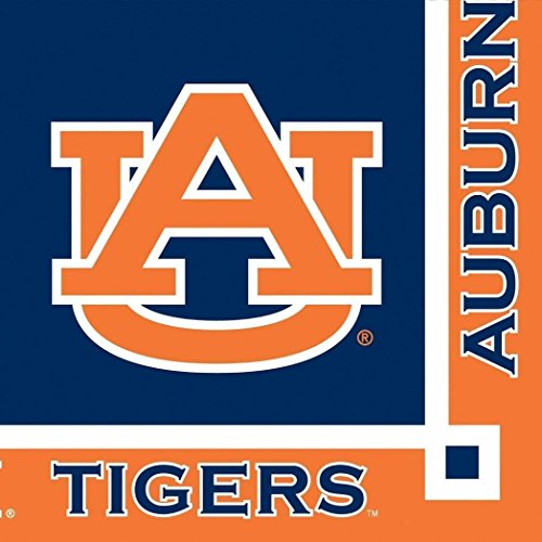 Auburn Tigers NCAA PartyCocktailNapkins Football Sports Themed College University Party Supply Napkins for Beverage for 20 Guests Orange and Blue Color Paper Napkins ()